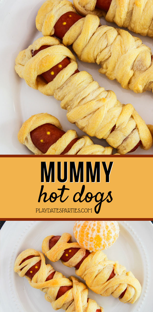 I'm always looking for easy make-ahead food for my kids parties, and these mummy dogs are the perfect choice for Halloween parties. Made with buttery crescent rolls, they're a fun treat that everyone loves. #halloweenfood #halloweenparty #halloweentreats #funfood #kidsfood #pdpcooks