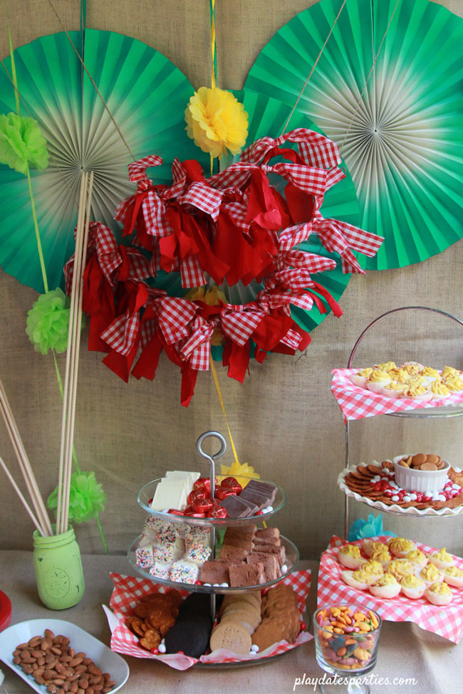 Small buffet for a s'mores party with green rosettes, mini tissue pom poms, a red gingham rag garland, and lots of burlap.