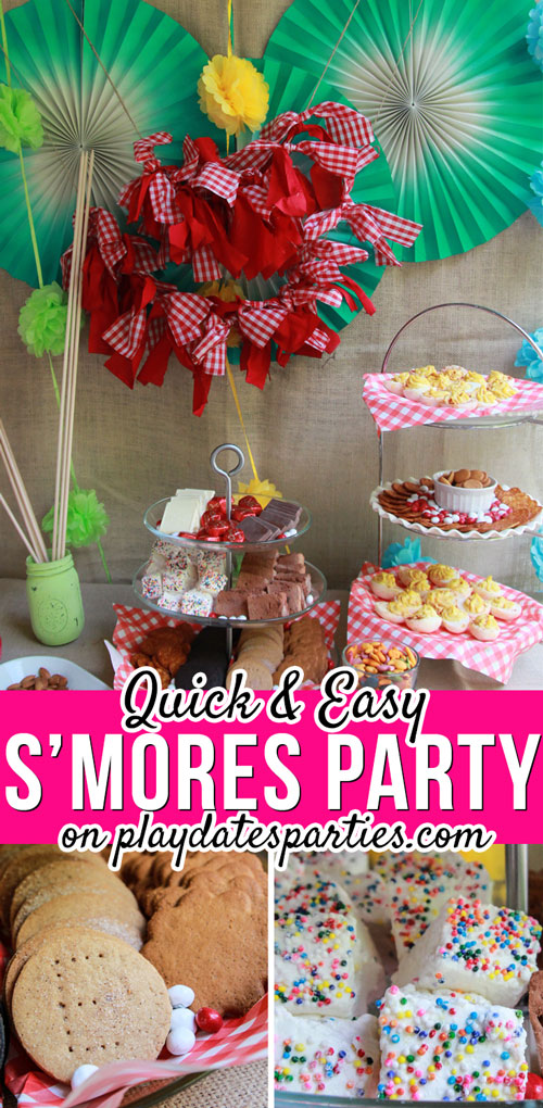 I can't believe how easy it was to pull together this last minute s'mores party for a summer birthday. It didn't take long at all to set up the s'mores bar, and all the guests had so much fun. Best of all, I'm sharing all the tips I learned for how to make a s'mores party when you don't have any time to spare. #smores #desserts #bar #partyideas #kidsbirthday #partyideasforkids #summer #summerparties #partyfood #partyplanning