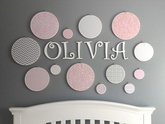 DIY Personalized Embroidery Hoop & Fabric Polka Dot Wall from Lindsay's Sweet World.