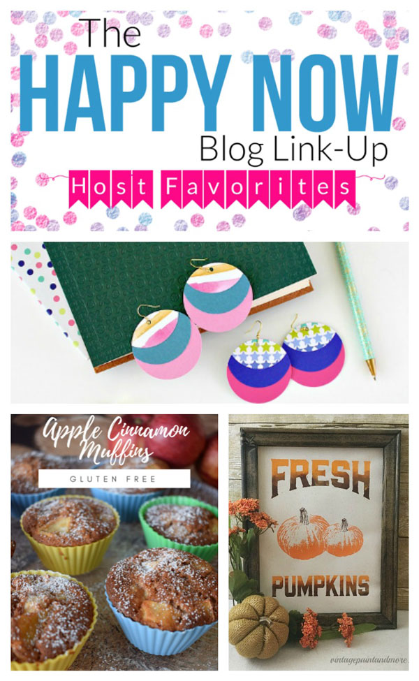 Share your own happy posts and see those of others at the Happy Now Link Up #129. Featuring paper earrings, apple cinnamon muffins, and a DIY paint tutorial for using the reverse side of an artists canvas! #bloggingtips #linkparty #linkup #blogging