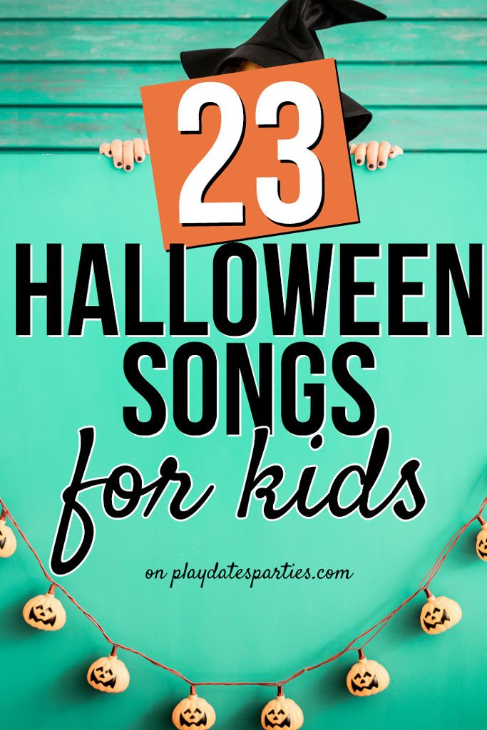 One of the best ways to set the tone for a party is to have the right music. Here are 23 Halloween songs for kids of all ages. From creepy classic choices to cute Disney songs, here are the best 23 Halloween songs to add to your playlists (even preschoolers!) #Halloween #Halloweenparty #kids #partyideas #kidsparty #music #party