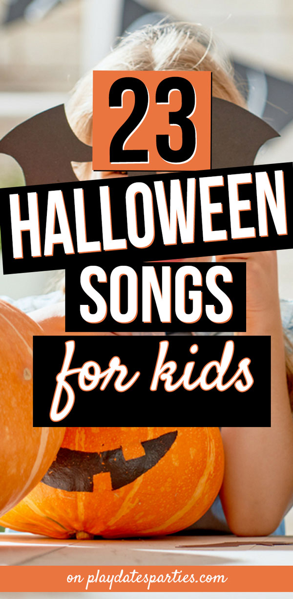 Every year I go in search of Halloween songs to play for kids in both preschool and elementary school. Finally I came up with the best list of music that is good both for toddlers and tweens. This list of 23 Halloween songs has just the right amount of spooky, silly, and even classic Disney choices. It's the perfect playlist for your Halloween party. #Halloween #Halloweenparty #kids #partyideas #kidsparty #songs #kidsparties