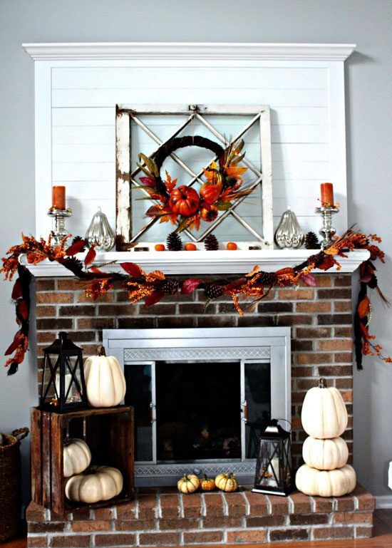 Rustic Fall Mantel Decor from Centsible Chateau.