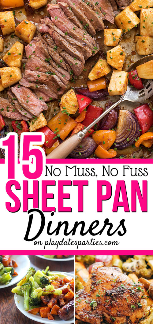 Imagine making dinner in no time, and only having ONE pan to clean up afterward. With these 15 easy sheet pan recipes you can do just that! Best of all, you can search based on your current cravings with each recipe categorized into sections like: Fish and Shrimp, Chicken, Beef and Steak, or Pork and Sausage. Make one tonight, or add them to your meal plan rotation. Yum! #sheetpandinner #sheetpanrecipes #dinner #dinnerrecipes #recipeoftheday #easyrecipe #recipes