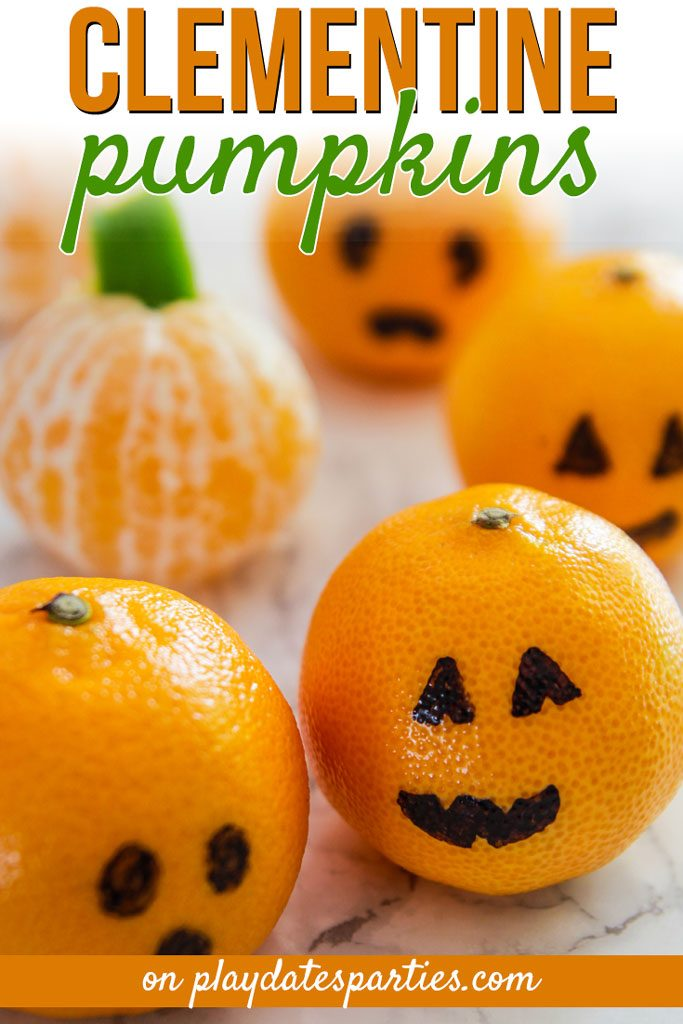 Every fall my kids ask when they're going to start getting clementine pumpkins in their lunches. And the best thing is that they are the PERFECT healthy Halloween snacks to add to school lunches. Toddlers love the peeled clementine pumpkins (no seeds, yay!) And older kids look forward to seeing the silly designs on clementine jack-o-lanterns. #Halloween #Halloweenfood #Halloweenparty #kidslunchideas #foodforkids #halloweenfun #partyideas