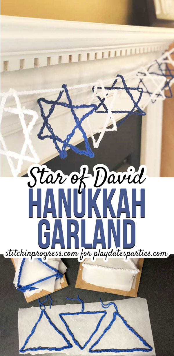 Want a Star of David craft that is simple enough for kids to make and is perfect for decorating your home during the festival of lights? Make this free crochet design as a family, and you will have a beautiful DIY Hanukkah garland that will be filled with memories. #hanukkahdecorations #holidaycrochet #crafts