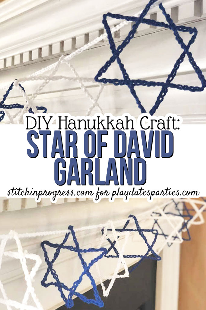 Beginning crafters will love this easy crochet Star of David DIY Hanukkah garland. Make with a very simple crochet stitch and some glue, even kids can make these creative handmade decorations. What a fun way to get the whole family involved in decorating the mantel for the festival. #hanukkah #crochet #easycrafts