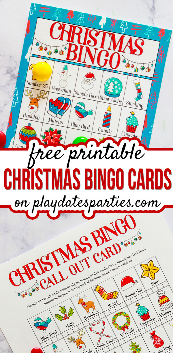 This set of colorful free printable Christmas bingo cards is a fun way for kids to celebrate the holiday season. With both pictures and words, it's an awesome set for students of all ages, including toddler preschool groups, kindergarten, and elementary school. Print out a set and use the call out card to play the game over and over again at your class party, Christmas party, or as a fun family activity. #Christmas #kidsactivites #games #printables