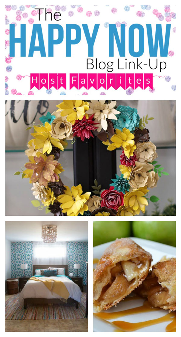 Making your home and your belly happy every week; here are the top posts featured at The Happy Blog Now Link Up No 137: an amazing upcycled DIY ceiling light shade, a gorgeous paper flower wreath just perfect for fall, and delicious apple flautas. Yum! Hop on over to get the details and find even more food and crafts at the link party! #bloggingtips #linkparty #linkup #blogging