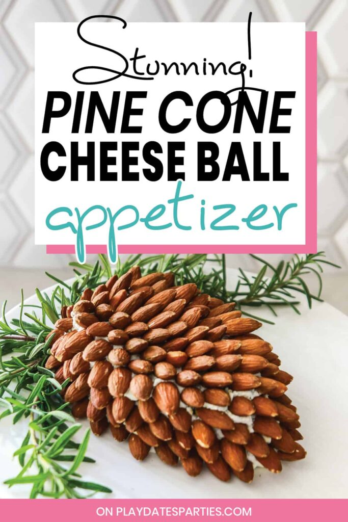 pine cone shaped cheese ball appetizer on a white serving plate with rosemary garnish