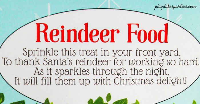 Close up of the reindeer food printable poem