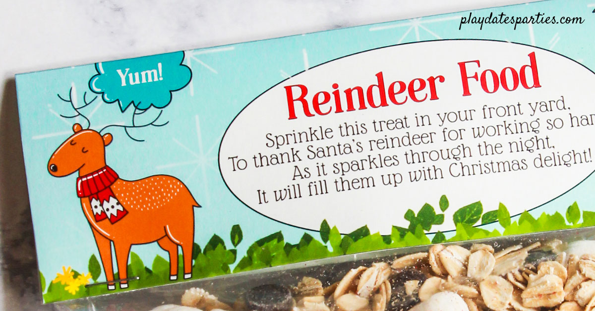 "Reindeer Food printable bag topper with a cute reindeer saying ""Yum"""