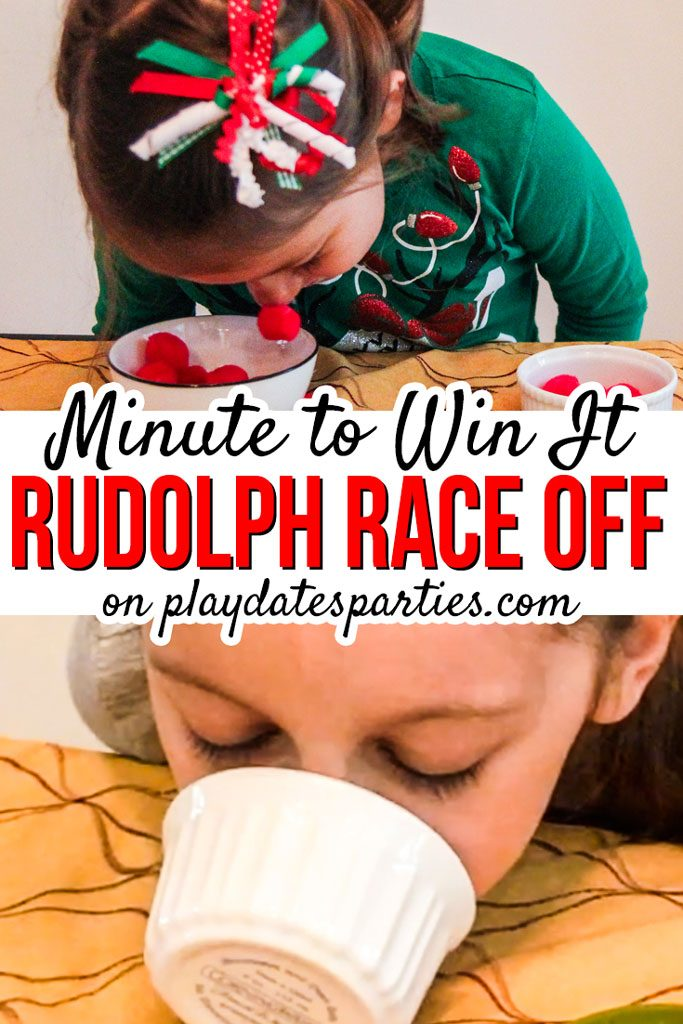 The best Christmas party games for kids, and adults alike are also simple to do and easy to prepare. Rudolph Race Off is a funny, minute to win it style game that all ages can enjoy. Play it for family game night, or break a kids' party into teams for a hilarious relay race. There's no doubt that playing a game like this will make your party one to remember for years to come! #kidsparties #holidays #christmas