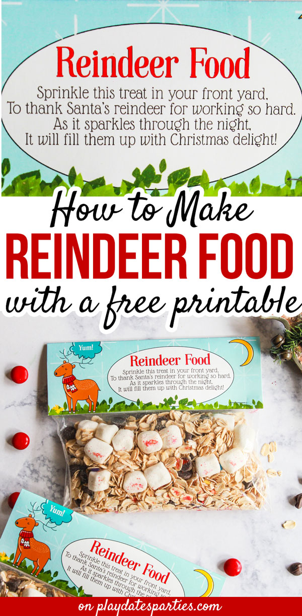 My children love to sprinkle magic reindeer food on our lawn on Christmas Eve night. With these reindeer food printable bag toppers, we can spread the fun through neighbor gifts, party favors, or gifts for friends in the classroom. Learn how to make simple reindeer food with oats, sprinkles, glitter, and so much more. Plus get tips for setting up a DIY reindeer food station at your next party for the holidays. #ChristmasGoodieBags #Holidays #GiftIdeas