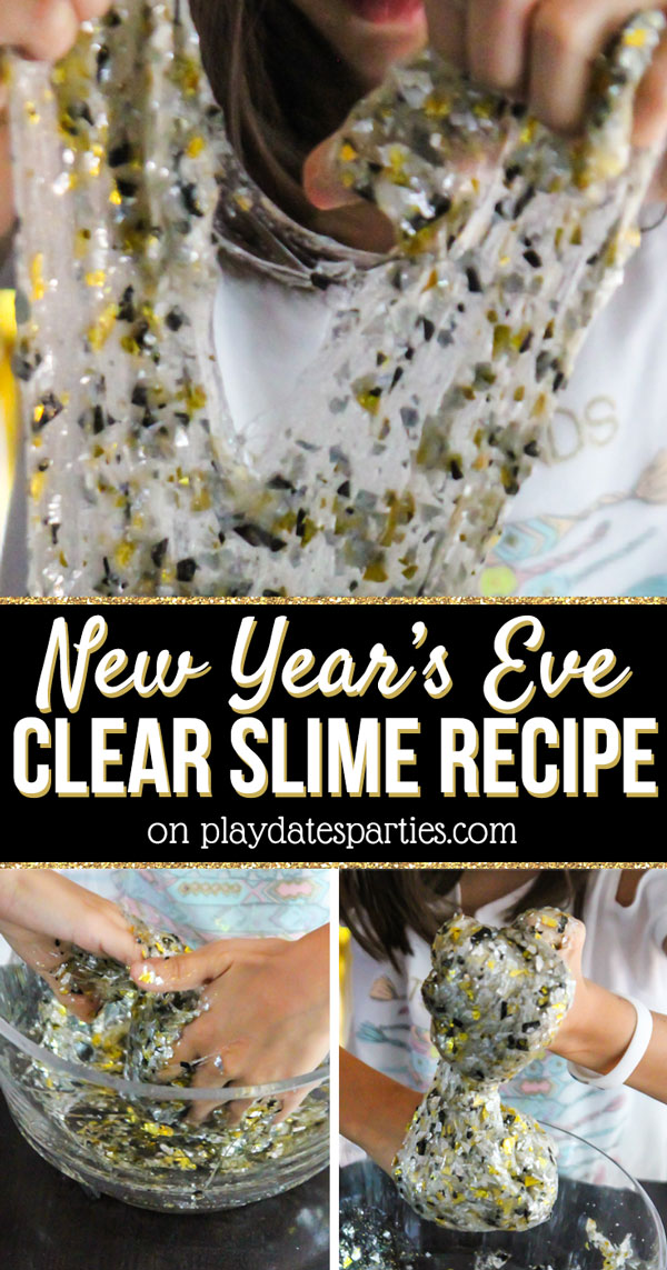 When trying to figure out what to do on New Year's Eve at home with the kids, we decided to pull together our own little casual family party! One of the ideas we had was to make this fun clear slime recipe (no borax) filled with gold, black and silver glitter and confetti. It's a great way for families to pass the time together on a cheap budget. And since it's a quiet activity, it won't wake the baby either! That definitely makes me happy! #newyearseve #familyfun #newyearsforkids