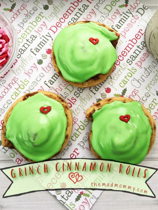 Grinch Inspired Cinnamon Rolls from The Mad Mommy.