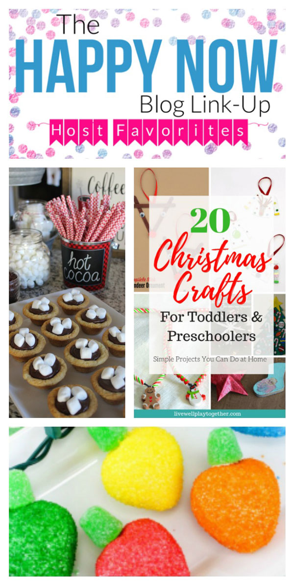 It's time for some holiday magic at the Happy Now Blog Link Up #141. Head on over to find a fantastic list of Christmas crafts or toddlers, tasty hot cocoa cookie cups, and the cutest chocolate covered strawberries that look like lightbulbs!