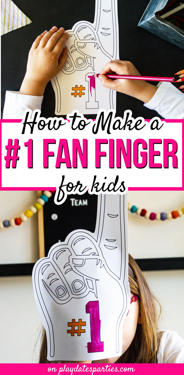 With the Super Bowl coming up, I want to make sure we have plenty of simple football party crafts for kids available. And this number one fan finger football craft is just perfect. Learn how to make this DIY Cricut project in your team colors or on white card stock as coloring pages for the kids to fill out. Then have them show off their creations at photo booths for plenty of hilarious party pictures! #kidscrafts #cricut #football #partyideas