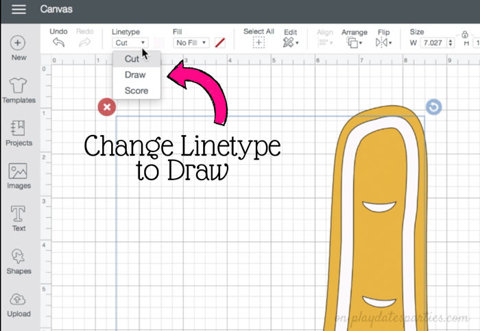 How to change a layer in Cricut Design Space from Cut to Draw
