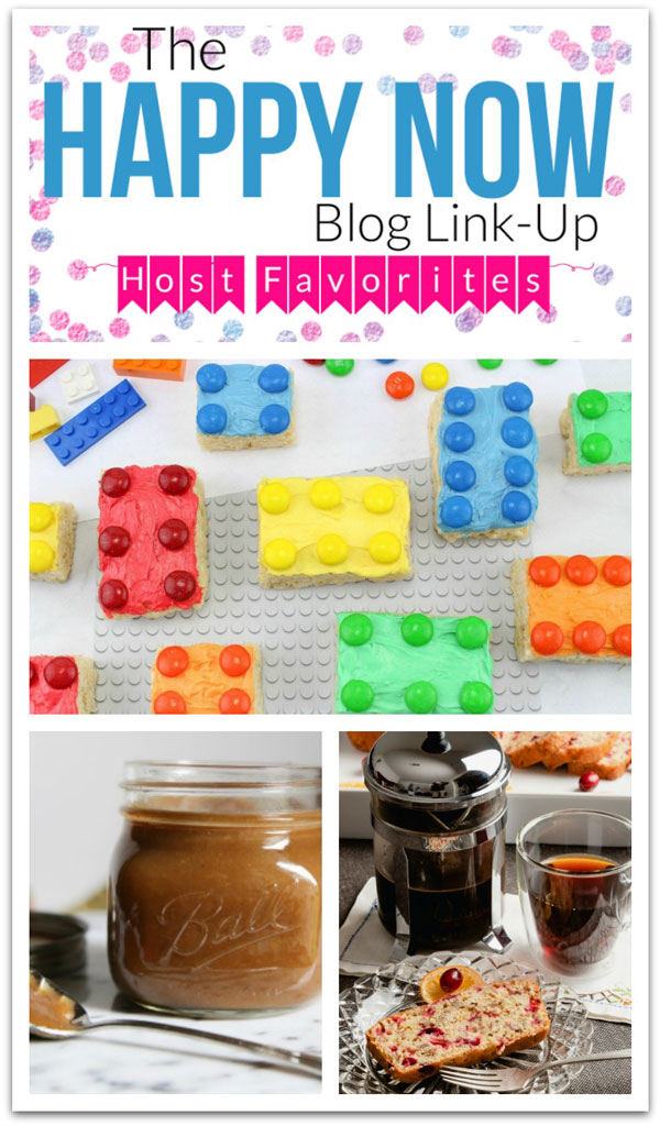 Get inspired and stay happy with all the inspiration at the Happy Now Link Up #146! This week featuring lego rice Krispy treats for kids, an incredible pear butter recipe, and a tasty cranberry bread and French press coffee that is perfect to go with it.