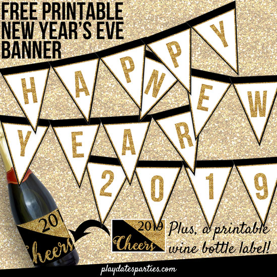 free printable gold glitter new year's eve banner