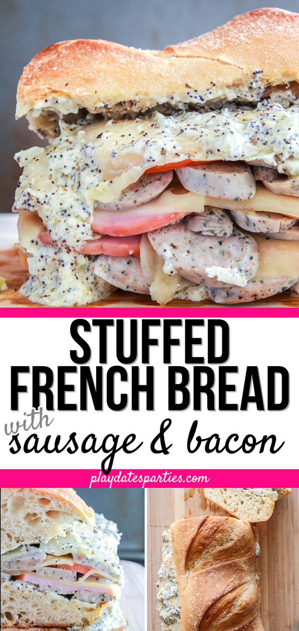Stuffed French bread with sausage and bacon is one of my favorite easy dinner recipes for our family. This recipe gives off the best, most mouthwatering aromas as it's baked, and doesn't disappoint once you bite into the warm, crispy bread. Double the recipe and freeze one loaf so you can have a quick and simple dinner ready to go for busy weeknights. #easyrecipe #easyfamilyrecipes #dinner