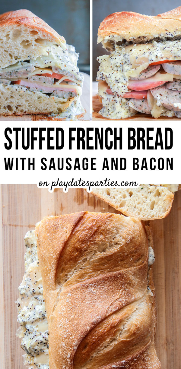 Warm sandwiches make the perfect game day food, and this stuffed French bread with sausage and bacon is no exception. It's the best make ahead main dish dinner recipe that is quick and easy to reheat, so you can focus on actually watching the football game. Add it to your super bowl party menu with plenty of napkins, and everyone will be asking for the recipe! #gamedayfood #superbowlparty #gamedayrecipes