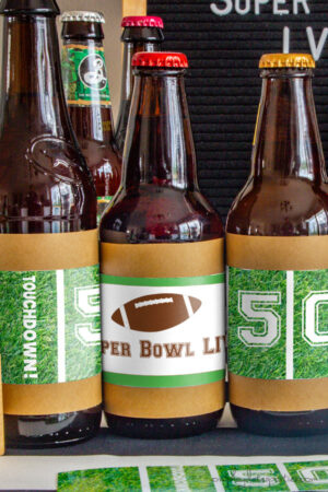 Image of super bowl bottle labels on beer bottles