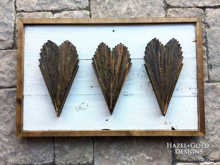 DIY Wood Shim Hearts Wall Art from Hazel + Gold.