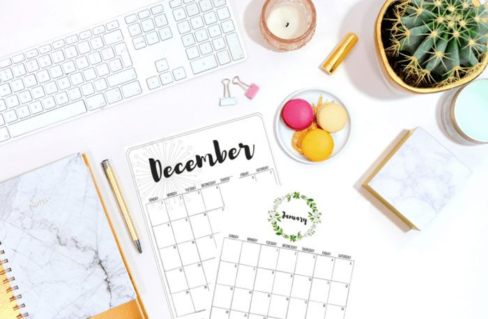Beautiful and FREE 2019 Calendars: Printables from Simply September.