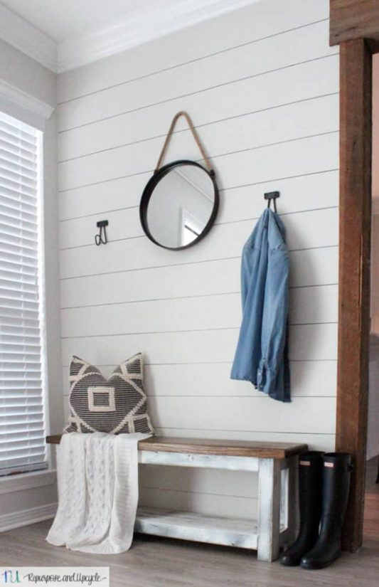One Hour Entryway Makeover with Sharpie Shiplap from Repurpose & Upcycle.
