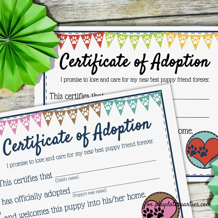 Puppy Certificate of Adoption for a birthday party in two color schemes