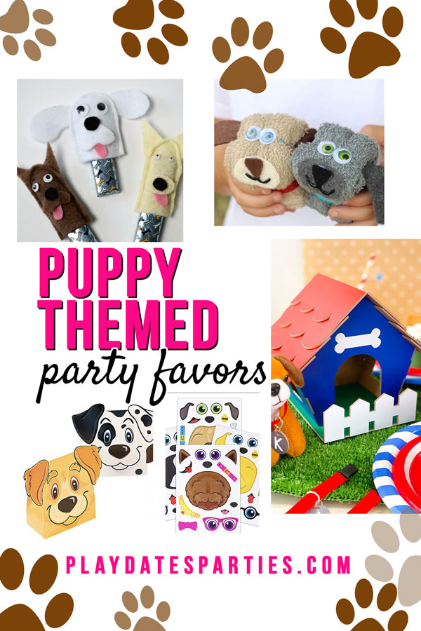 a collage of puppy themed birthday party favors