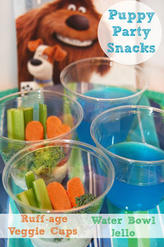 Puppy Themed party food snacks: ruff-age veggie cups and water bowl jello