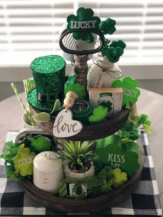 St. Patrick's Day Tiered Tray by Living on Cloud Nine