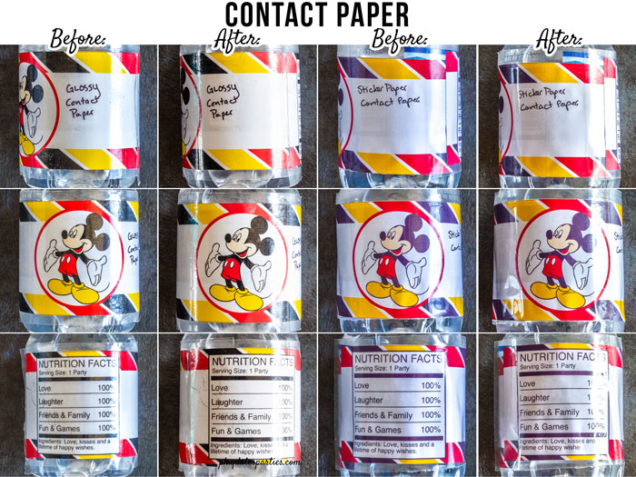 Before and after images of using contact paper to make waterproof water bottle labels on glossy photo paper and vinyl sticker paper