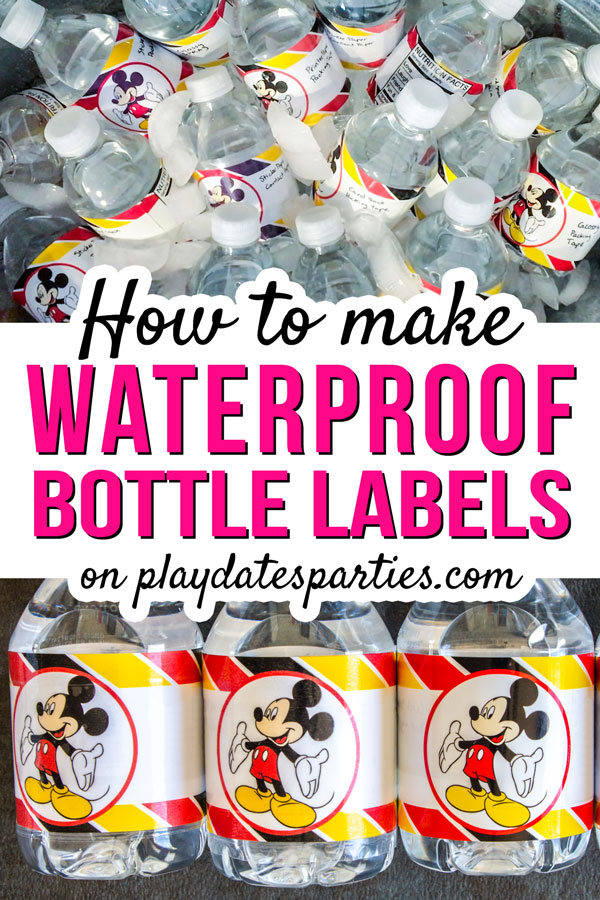Water bottles with Mickey Mouse water bottle label with the text: how to make waterproof bottle labels