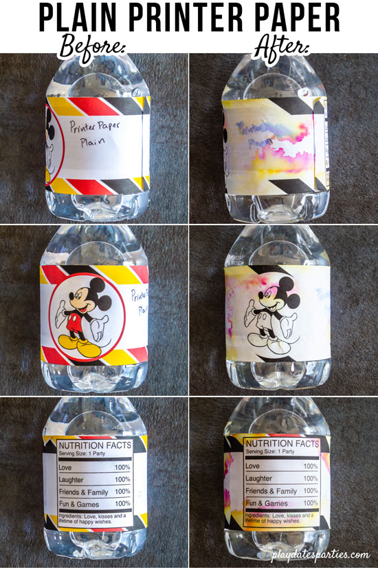 plain printer paper water bottle labels before and after sitting in an ice bucket