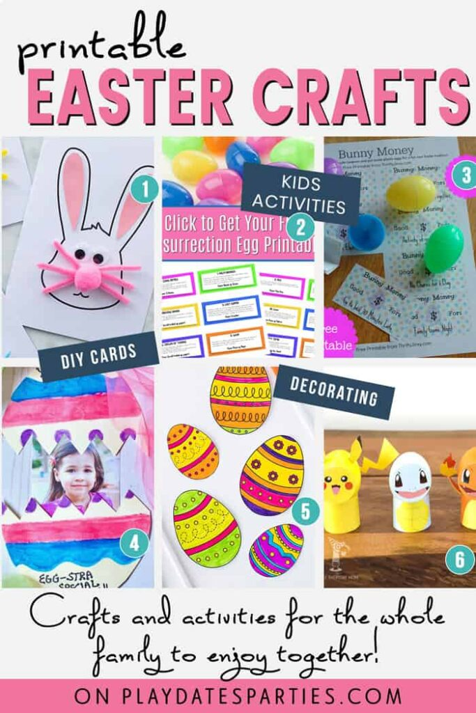 A collage of 6 Easter crafts with the text printable Easter crafts. Crafts and activities for the whole family to enjoy together