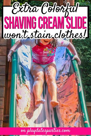 Picture of a girl sliding down a slide with blue and orange shaving cream and the text extra colorful shaving cream slide won't stain clothes