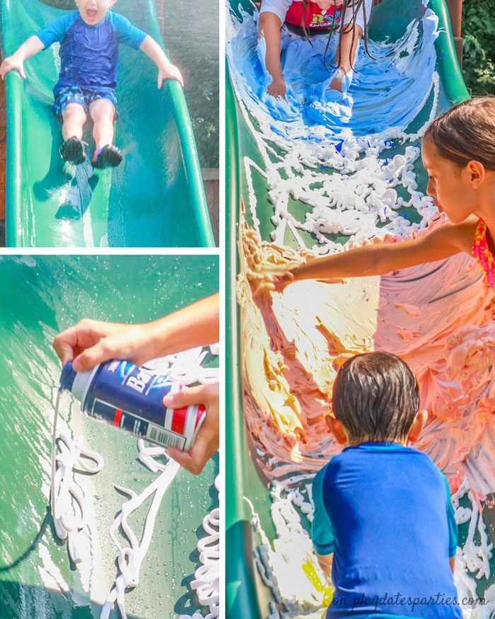 A collage of pictures showing how to set up a colorful shaving cream slide