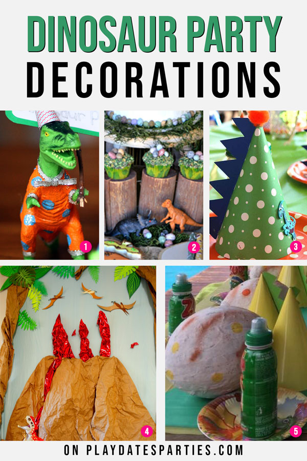 A variety of dinosaur party decorations, including party hats, cupcake displays, and backdrops