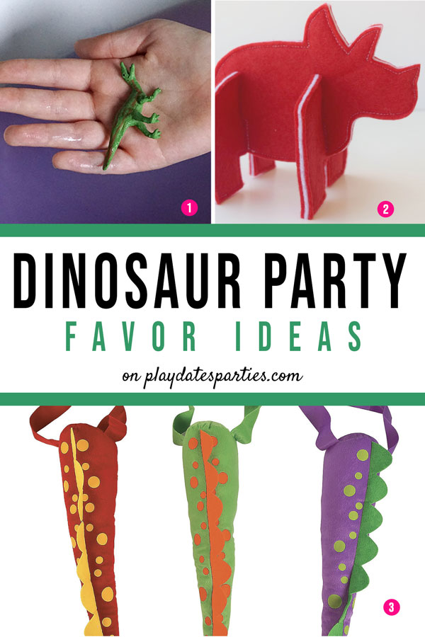 Three ideas for dinosaur party favors, including bath bombs, felt dinosaur puzzles, and plush dinosaur tails