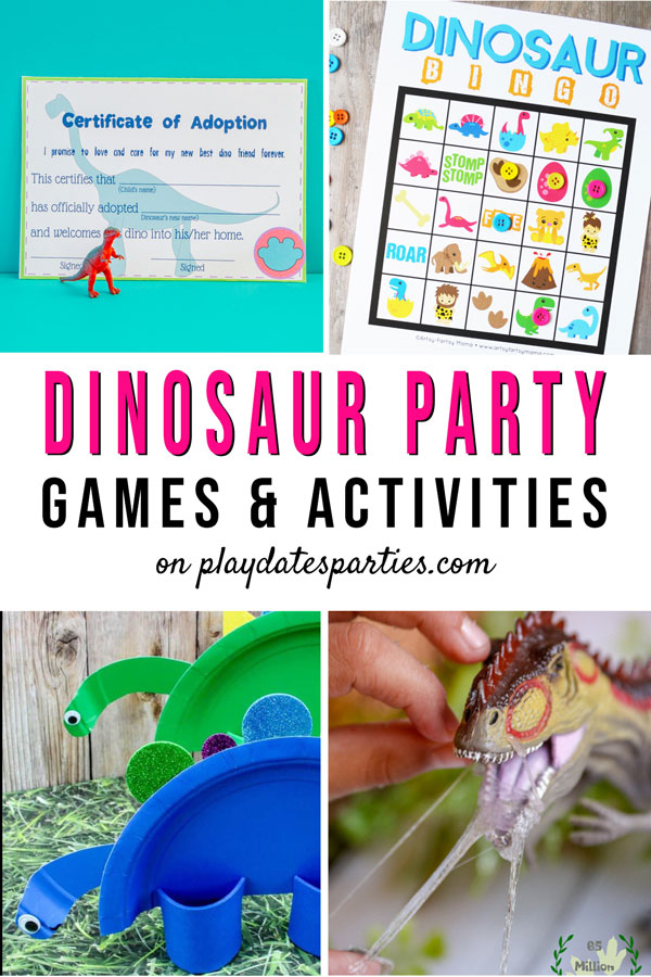 Dinosaur party games, including adoption certificates, bingo, paper plate craft, and slime making.