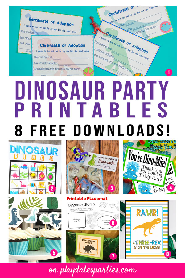 8 dinosaur party printables including dinosaur adoption certificates, bingo, gift tags, signs, and cupcake decorations.