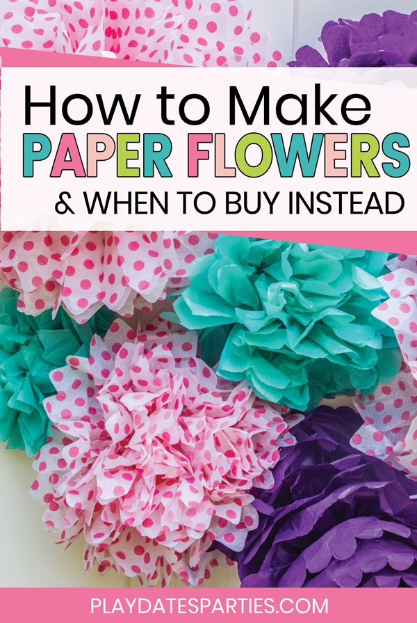 close up of a bundle of tissue paper pom poms with how to make paper flowers and when to buy instead