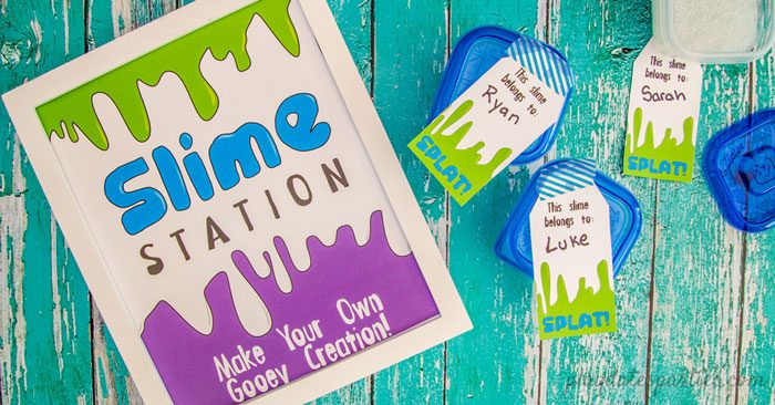 slime making station party sign with printable labels