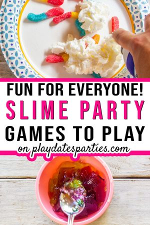 A collage of party activities with the text fun for everyone slime party games to play