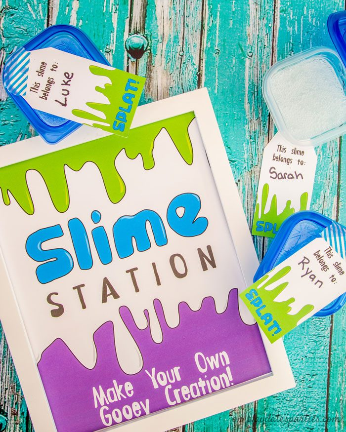 slime making station party printables and tags